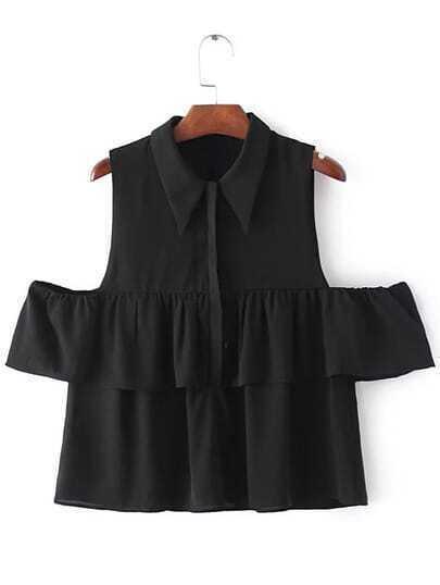 Black Cold Shoulder Lapel Buttons Blouse
