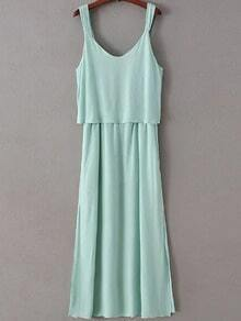 Green Sleeveless V Neck Bow Dress
