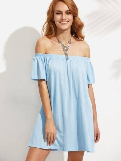 Blue Off The Shoulder Shift Dress