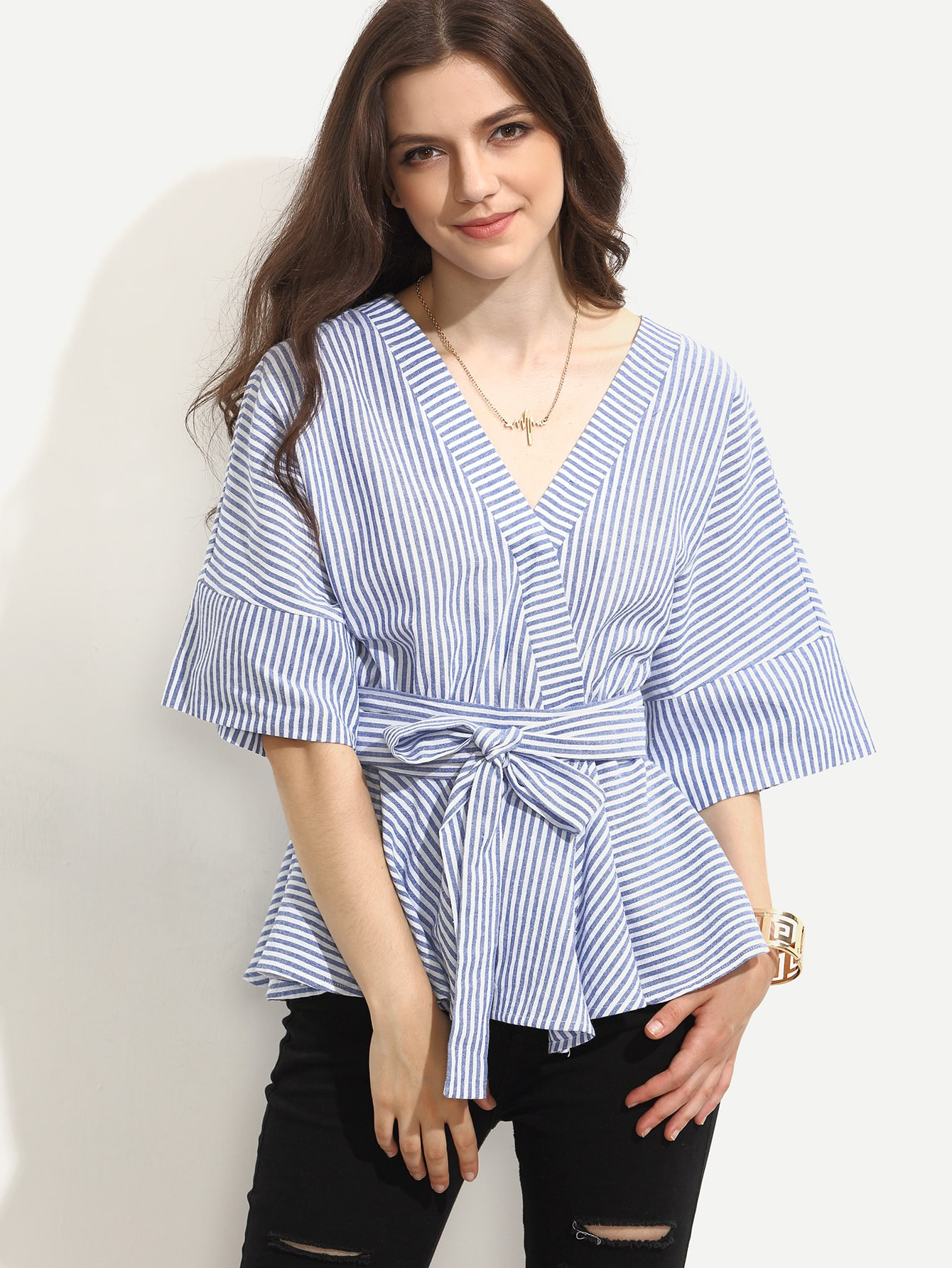 Blue Striped Tie Waist Surplice BlouseBlue Striped Tie Waist Surplice Blouse<br><br>color: Blue<br>size: L,M,S,XS