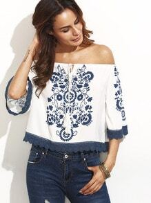 Blue Print in White Tie Off The Shoulder Blouse
