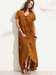 Frill Floor Length Swing Dress