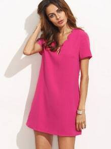 Hot Pink Crisscross Scallop Trim Short Sleeve Dress