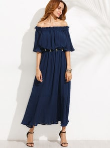 Navy Off The Shoulder Half Sleeve Dress