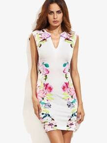 Multicolor Floral Bodycon Dress