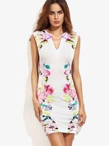 Multicolor Floral Bodycon Dress