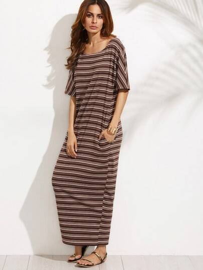 Striped Elbow Sleeve Full Length Dress