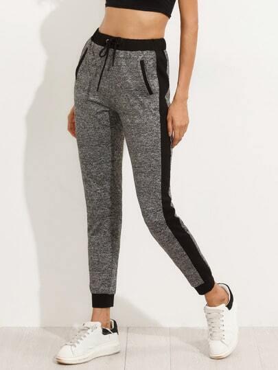 Pantalones cintura elástica con bolsillo - gris