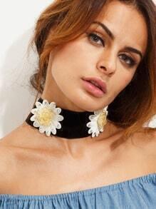 Black Flower Choker Necklace