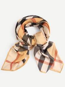 Gingham Imitated Silk Square Scarf