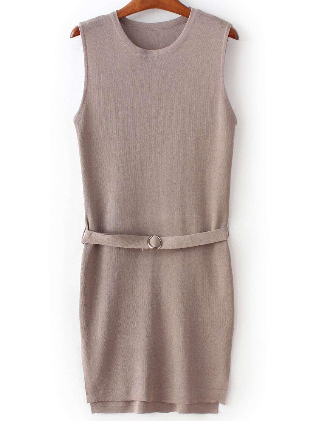 brown sleeveless split dress with belt shein sheinside