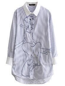 Blue Lapel Stripe Embroidery Shirt Dress