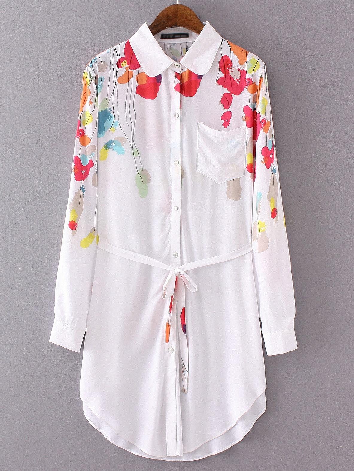 White Lapel Floral Pocket Shirt Dress With Belt dress160709220