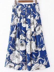 Pantalon large imprimé fleuri avec poches - bleu royale