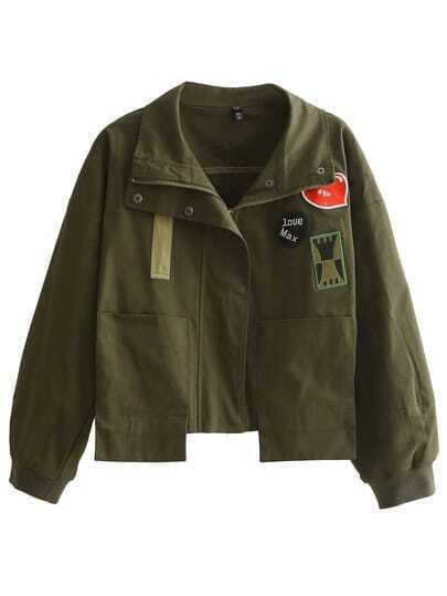 Army Green Zipper Applique Tassel Jacket
