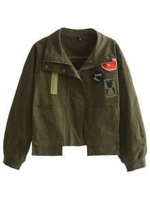 Army Green Zipper Applique Tassel Jacket