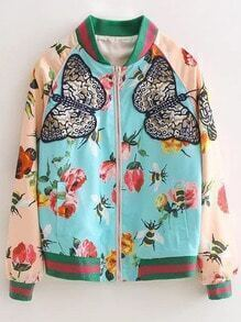 Multicolor Zipper Front Floral Embroidery Jacket