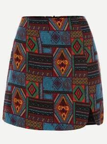 Multicolor Tribal Print A Line Skirt