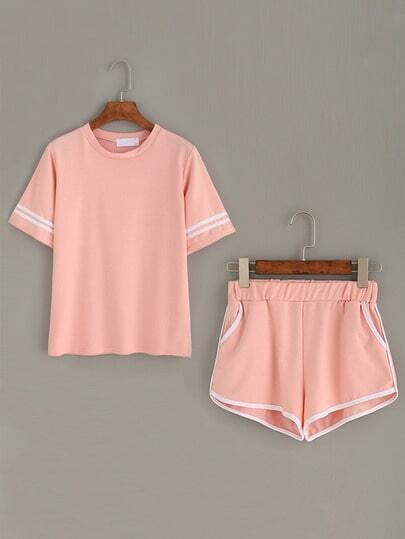 Striped Trim Top With Pockets Contrast Trim Shorts