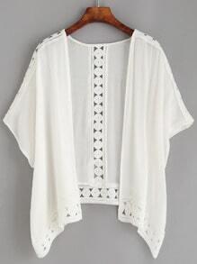 White Crochet Insert Hollow Kimono