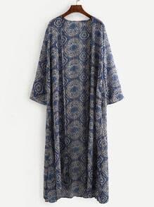 Blue Vintage Print Long Kimono
