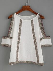 White Cold Shoulder Embroidered Tape Detail Chiffon Top