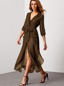 Olive Green Notch Lapel Belted Shirt Dress With Pocket