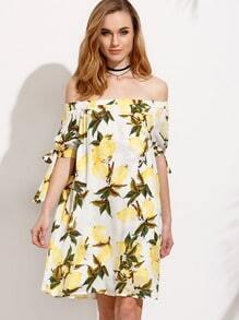 White Lemon Print Tie Sleeve Off The Shoulder Dress