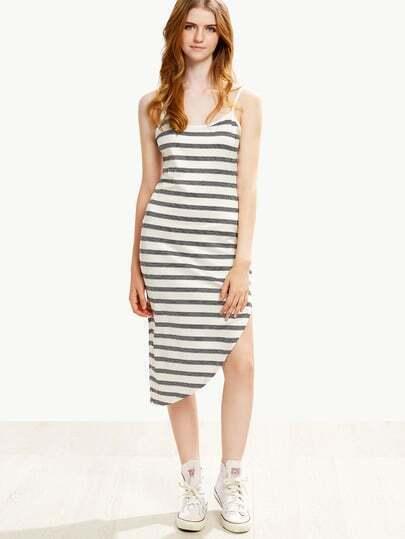 White Striped Asymmetric Cami Dress