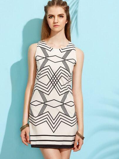 White Geometric Print Sheath Dress