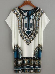 White Tribal Print Dolman Sleeve Dress