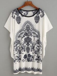 White Paisley Print Dolman Sleeve Dress
