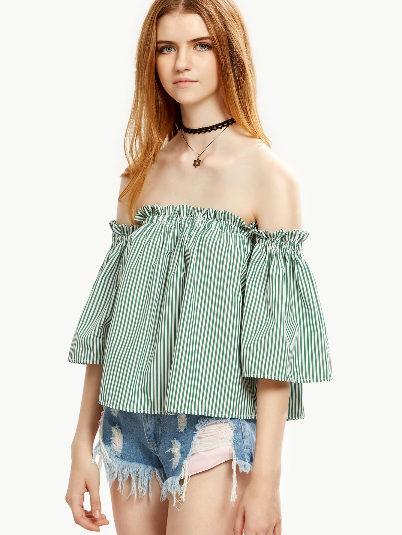 Green Vertical Striped Ruffle Off The Shoulder Top