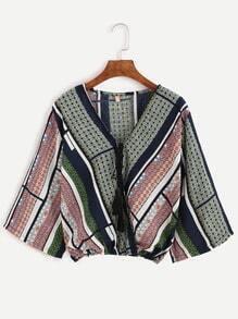 Multicolor Geometric Print Tassel Tie Front Crop Top