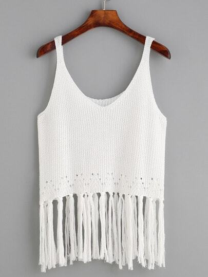 Fringe Trim Knit Tank Top