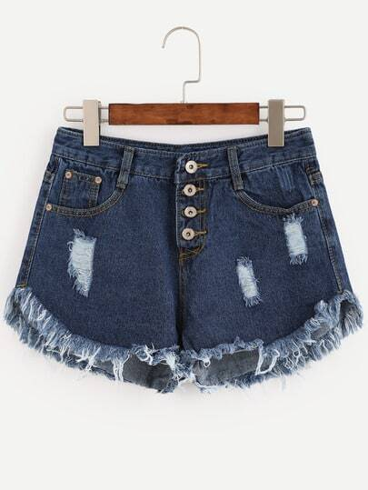 Blue Button Fly Frayed Denim Shorts