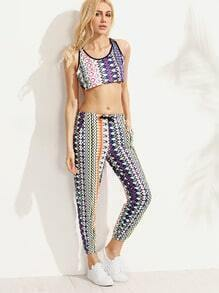 Multicolor Geometric Print Crop Tank Top With Pants