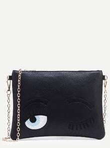 Black Wink Eye Embroidered Clutch With Chain