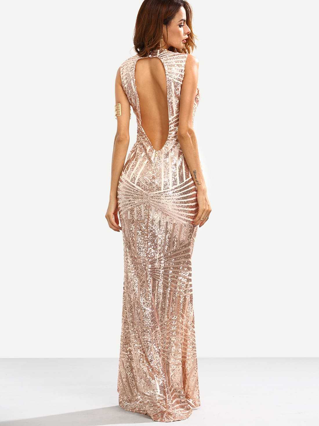 rose gold sequins embedded cut out back mermaid dress shein sheinside. Black Bedroom Furniture Sets. Home Design Ideas
