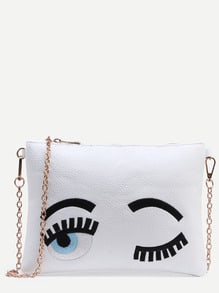 White Wink Eye Embroidered Clutch With Chain