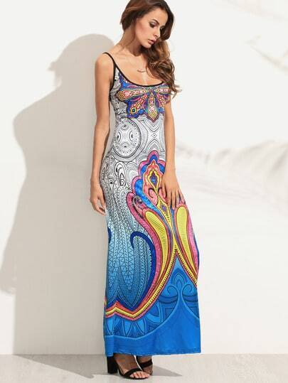 Blue Spaghetti Strap Tribal Print Maxi Dress