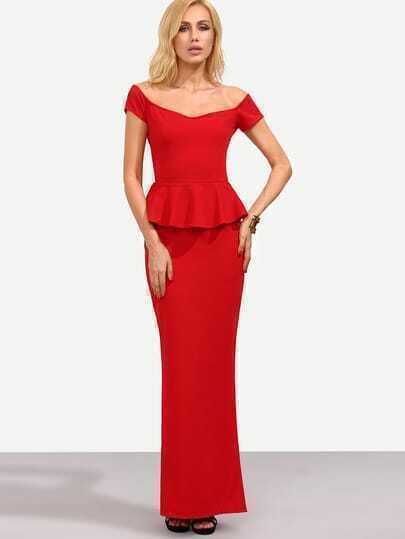 Red Off The Shoulder Peplum Split Dress