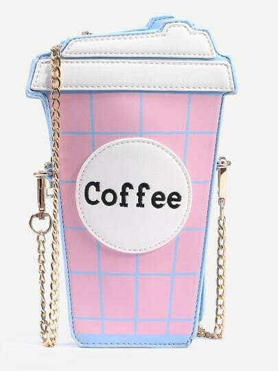Pink Coffee Cup Shaped Chain Bag