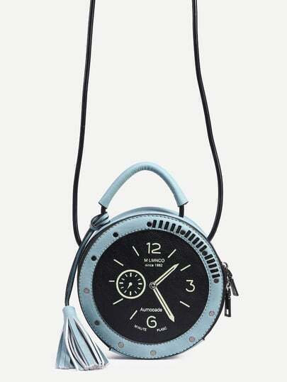 Blue Tassel Trim Clock Shaped Bag
