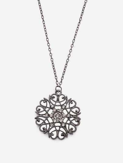 Rhinestone Flower-shaped Pendant Necklace