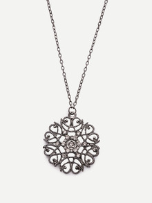 Rhinestone Flower-shaped Pendant Necklace