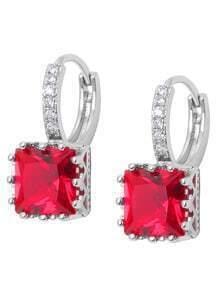Red Square Zircon Earrings
