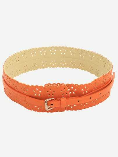 orange hollow flower wide belt shein sheinside