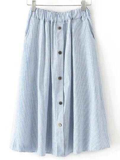 Blue Elastic Waist Button Stripe Pleated Skirt