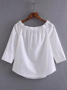 White Off The Shoulder Slim Blouse
